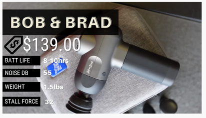 Bob & Brad massage gun specs options price noise level weight stall force